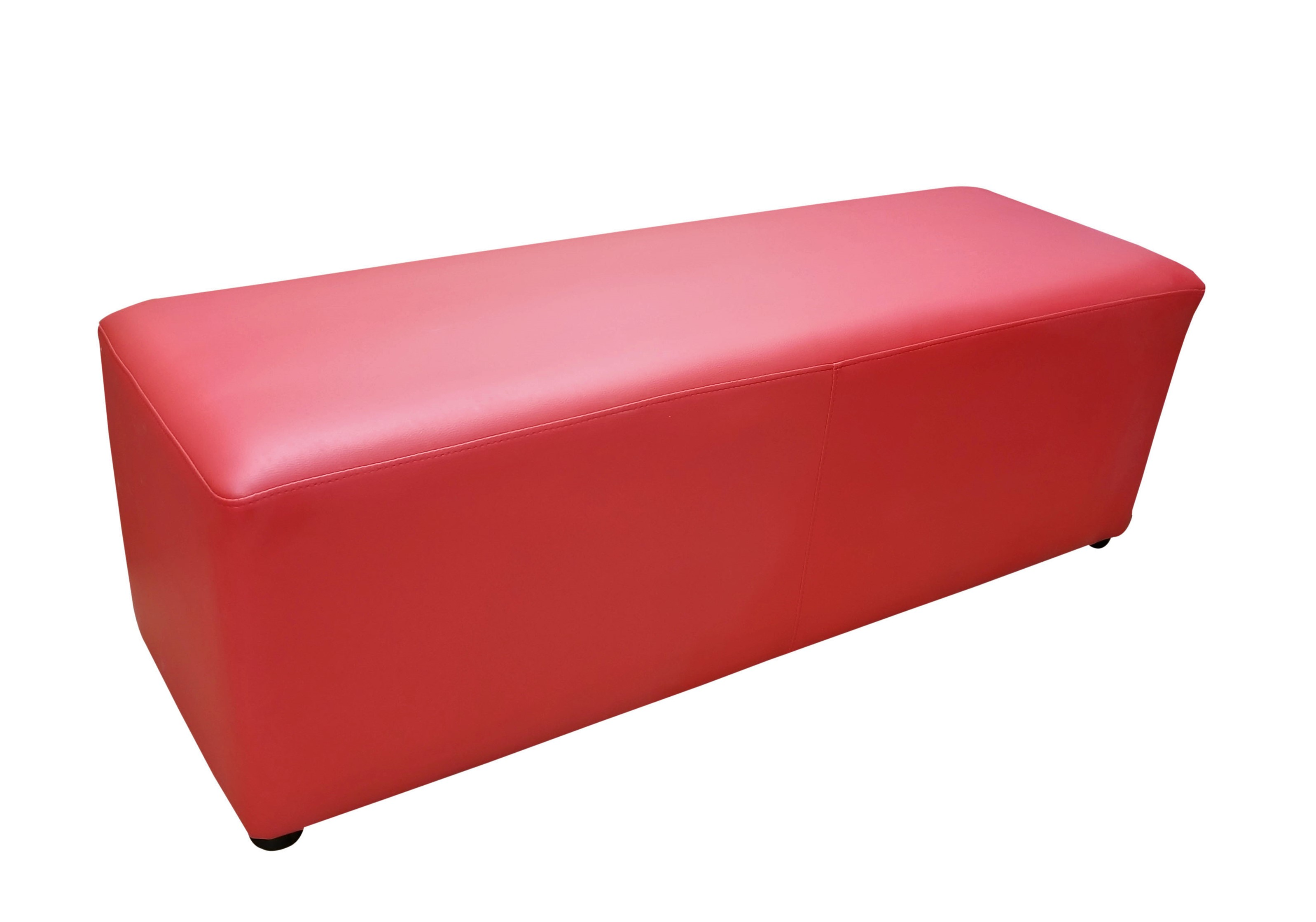 Pouf_Rectangula_Red leather