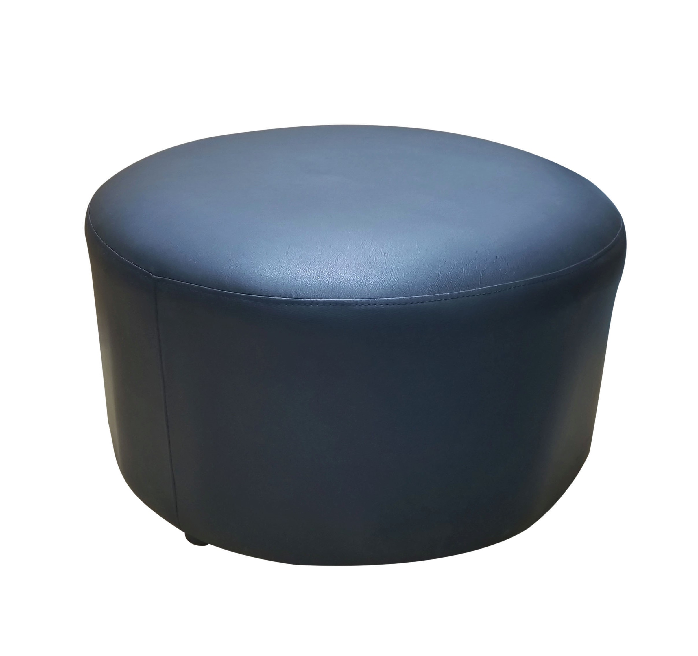 Pouf_Round_Black leather
