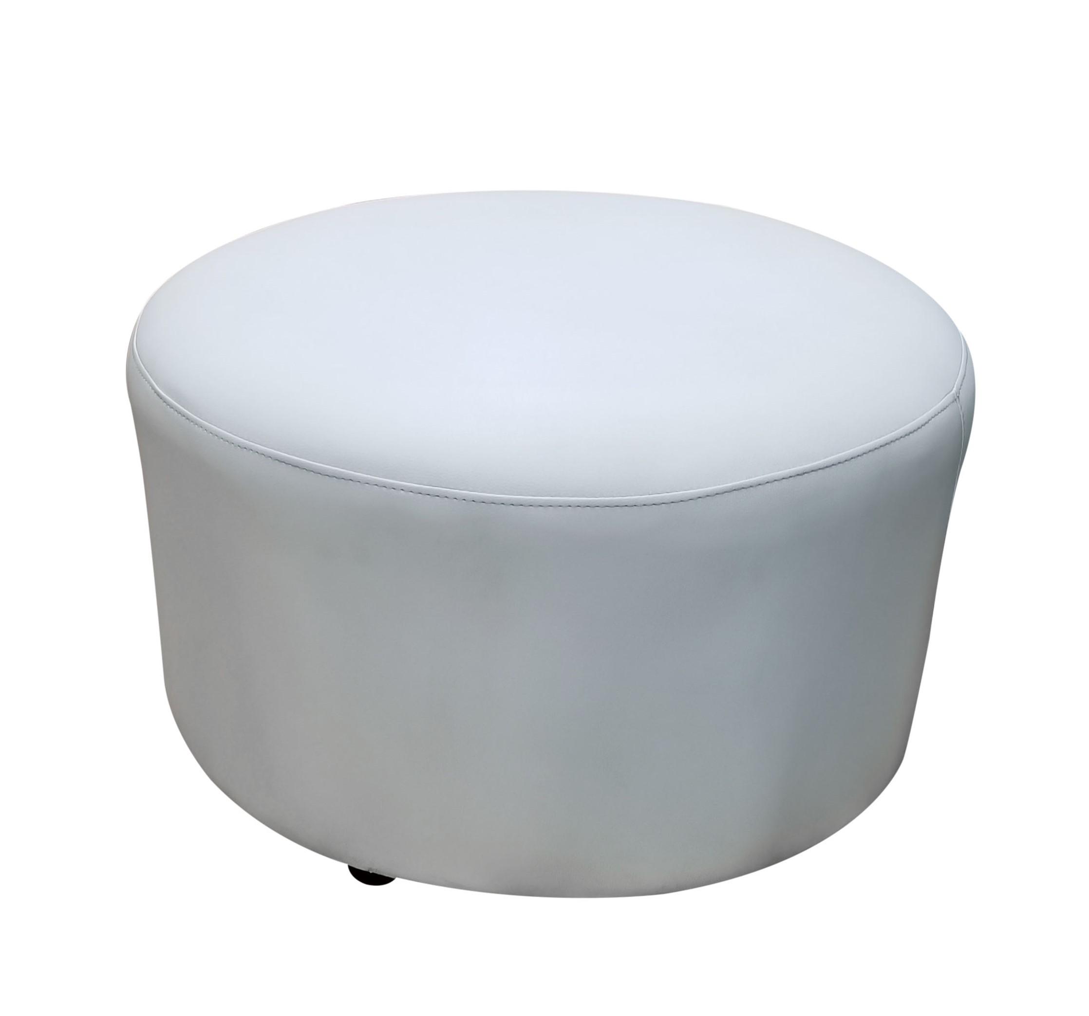 Pouf_Round_White leather